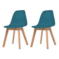 vidaXL Ruokapöydän tuolit 2 kpl turkoosi muovi