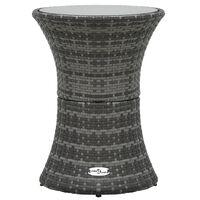 vidaXL Puutarhan sivupöytä rummun muotoinen harmaa polyrottinki