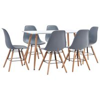vidaXL 7 Piece Dining Set Plastic Grey (248304+248261)