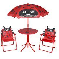 vidaXL 3-osainen Lasten Puutarhan Bistrosarja aurinkovarjolla punainen
