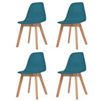 vidaXL Ruokapöydän tuolit 4 kpl turkoosi muovi