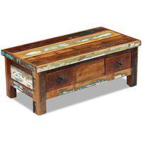 vidaXL Sohvapöytä laatikoilla kierrätetty massiivipuu 90x45x35 cm