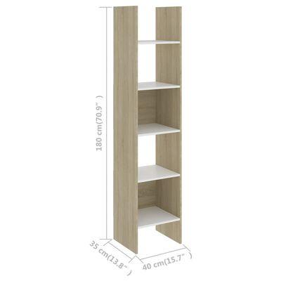 vidaXL Kirjahylly valkoinen ja Sonoma-tammi 40x35x180 cm lastulevy