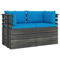 vidaXL Garden 2-Seater Pallet Sofa with Cushions Solid Pinewood (2x315419+2x315068)