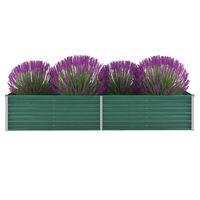 vidaXL Korotettu kukkalaatikko galvanoitu teräs 240x80x45 cm vihreä