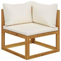 vidaXL Sectional Corner Sofa & Cream White Cushion Solid Acacia Wood