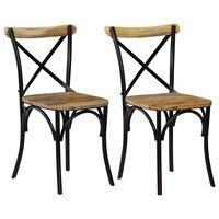 vidaXL Ristiselkäiset tuolit 2 kpl musta täysi mangopuu