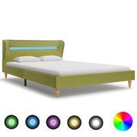 vidaXL Sängynrunko LED-valolla vihreä kangas 135x190 cm