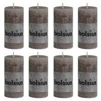 Bolsius Pilarikynttilät 8 kpl rustiikkinen 100x50 mm ruskeanharmaa
