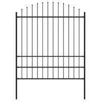 vidaXL Garden Fence with Spear Top Steel 17 m Black (10x144945)