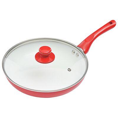 vidaXL 5-osainen paistinpannusarja punainen alumiini