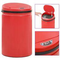 vidaXL Roskakori automaattisella anturilla punainen hiiliteräs 30 l