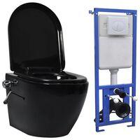 vidaXL Seinäkiinnitettävä WC piilotetulla säiliöllä keraami musta