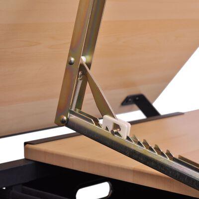 vidaXL Kallistettava piirustuspöytä 2 laatikolla ja jakkaralla