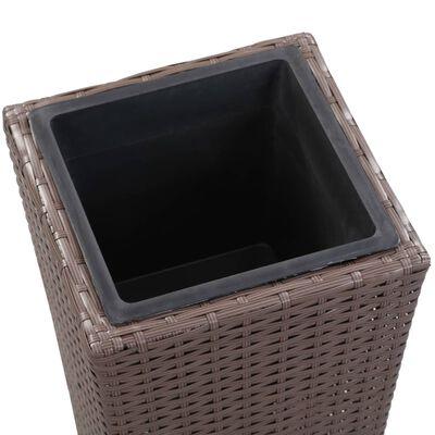 vidaXL Korotettu kukkalaatikko 30x30x80 cm polyrottinki ruskea