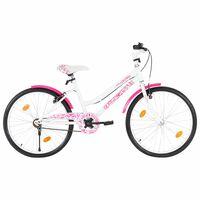 """vidaXL Lasten pyörä 24"""" pinkki ja valkoinen"""