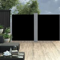 vidaXL Sisäänvedettävä sivumarkiisi musta 160x600 cm