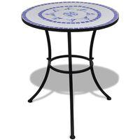 vidaXL Bistropöytä sininen ja valkoinen 60 cm mosaiikki