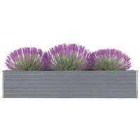 vidaXL Korotettu kukkalaatikko galvanoitu teräs 320x40x45 cm harmaa