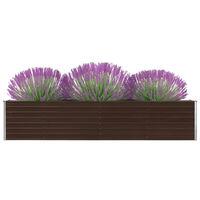 vidaXL Korotettu kukkalaatikko galvanoitu teräs 320x40x45 cm ruskea