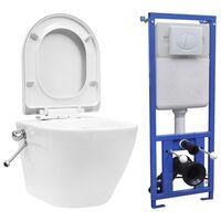 vidaXL Seinäkiinnitettävä WC piilotetulla säiliöllä keraami valkoinen