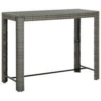 vidaXL Puutarhan baaripöytä harmaa 140,5x60,5x110,5 cm polyrottinki