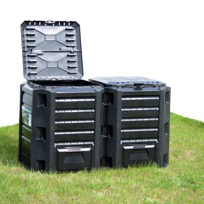 vidaXL Puutarhan kompostiastia musta 1600 l