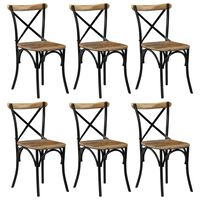 vidaXL Ristiselkäiset tuolit 6 kpl musta mangopuu