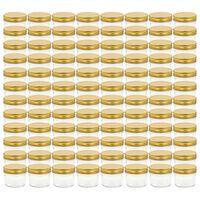 vidaXL Lasiset hillopurkit kullan värisillä kansilla 96 kpl 110 ml