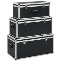 vidaXL Säilytyslaatikot 3 kpl musta alumiini