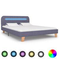 vidaXL Sängynrunko LED-valolla vaaleanharmaa kangas 135x190 cm