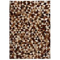 vidaXL Matto aito nahka tilkkutyö kolmio 160x230 cm ruskea/valkoinen