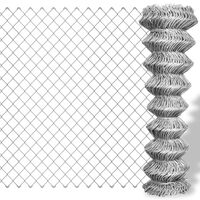 vidaXL Verkkoaita galvanoitu teräs 15x1,5 m hopea