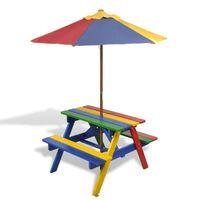 vidaXL Lasten piknikpöytä penkeillä ja aurinkovarjolla monivärinen puu
