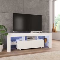 vidaXL TV-taso LED-valoilla korkeakiilto valkoinen 130x35x45 cm