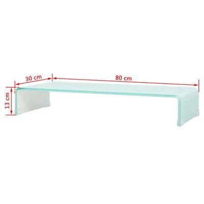 vidaXL TV-taso/Näyttöteline Valkoinen lasi 80x30x13 cm