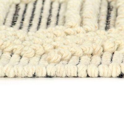 vidaXL Matto käsinkudottu villa 140x200 cm mustavalkoinen