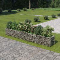 vidaXL Korotettu kivikori/kukkalaatikko galvanoitu teräs 360x50x50 cm