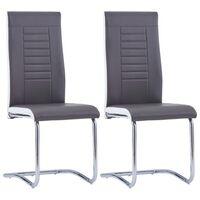 vidaXL Takajalattomat ruokapöydän tuolit 2 kpl harmaa keinonahka