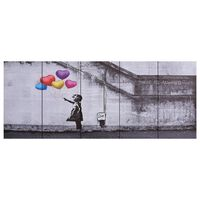 vidaXL Kanvaasitaulusarja ilmapallot ja lapsi monivärinen 200 x 80 cm
