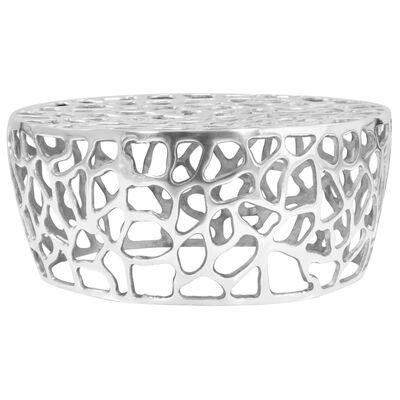 vidaXL Sohvapöytä valualumiini 70x30 cm hopea