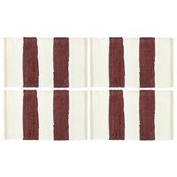 vidaXL Tabletit 4 kpl Chindi-raita viininpunainen ja valkoinen 30x45cm