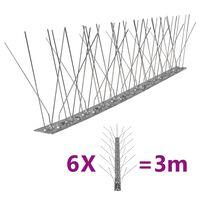 vidaXL 5-Riviset ruostumaton teräs lintu- & kyyhkyspiikit 6-sarja 3 m