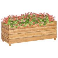vidaXL Korotettu kukkalaatikko 100x40x38cm kierrätetty tiikki ja teräs