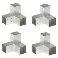 vidaXL Tolppaliittimet 4 kpl Y-muoto galvanoitu metalli 81x81 mm