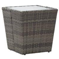 vidaXL Teepöytä harmaa 41,5x41,5x43 cm polyrottinki ja karkaistu lasi