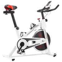 vidaXL Spinningpyörä sykemittareilla valkoinen ja punainen