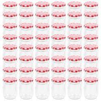 vidaXL Lasiset hillopurkit valkopunaisilla kansilla 48 kpl 230 ml