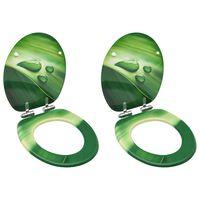 vidaXL WC-istuimet soft close kansilla 2kpl MDF vihreä vesipisarakuosi
