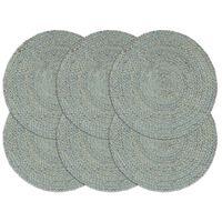 vidaXL Tabletit 6 kpl kuvioton oliivinvihreä 38 cm pyöreä juutti
